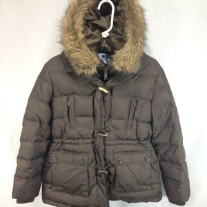 Tommy Hilfiger Down Coat Jacket Brown Faux Fur
